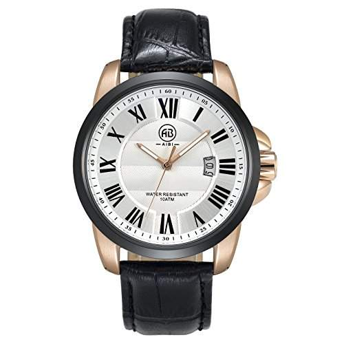 AIBI Collection Herren-Armbanduhr Leder Analog schwarz