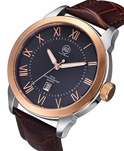 AIBI Herren Wasserdichte Braun Leder Roségold Luenette Quarz Analoge Uhr mit Datum