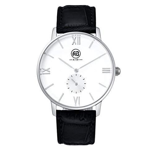 AIBI Herren Wasserdicht Classic Quarzuhr Armbanduhr elegant Uhr modisch Zeitloses Design klassisch Leder weiss schwarz AB01701-9