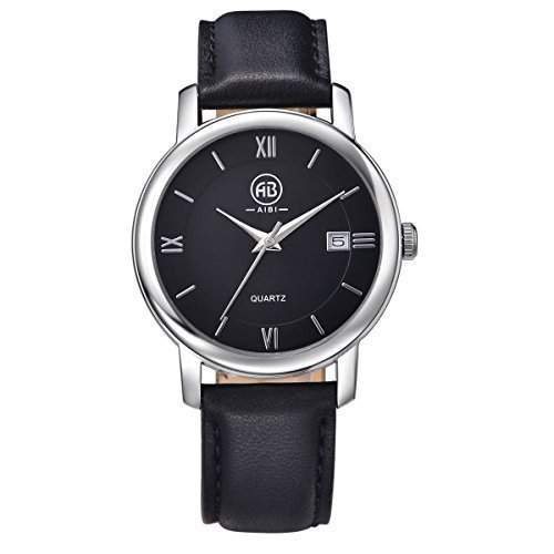 AIBI Wasserdichte Damen Schwarze Uhren Leder Armband und Zifferblatt mit Datum AB00201-3