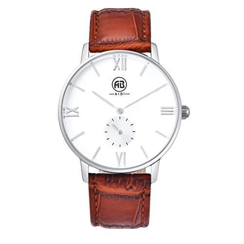 AIBI Herren-Armbanduhr Classic Casual Analog Quarz Uhr Weisses Braun-rot AB01701-7