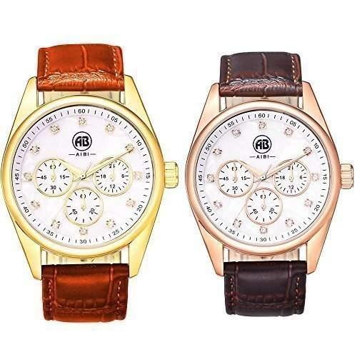 AIBI Wasserdichte paar Liebhaber Braun Leder Armbanduhren mit Drei Hilfszifferblaetter Uhren