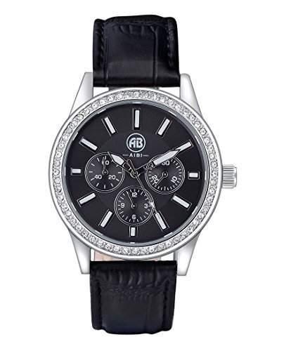 AIBI Wasserdichte Herren Schwarzes Lederband und Zifferblatt Quarz Uhren mit Kristall