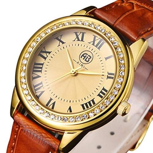 AIBI Wasserdichte Unisex Uhren Rotbraunen Lederband Gold Ton Diamant-Luenette