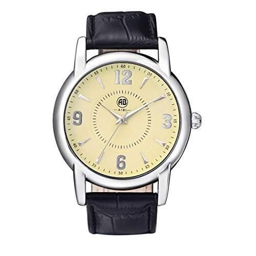 AIBI Wasserdichte Herren Schwarzes Lederband Gelb Zifferblatt Quarz Uhren mit Datum