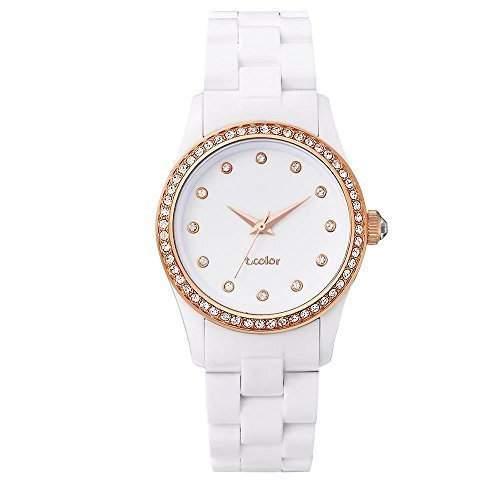 AIBI Wasserdichte Damen Uhren Weisses Plastk Roségold Uhr AB45501-1L