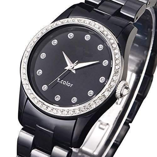AIBI AIBI Ladies women Quartz Watch with Black Dial Analogue Display and Black Band Plastic