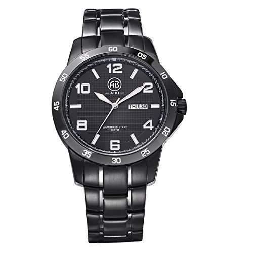 AIBI wasserdichte schwarze Keramikarmband Mens-Armbanduhr Einfach, schwarzes Zifferblatt mit Auto Datum und Tag lesen