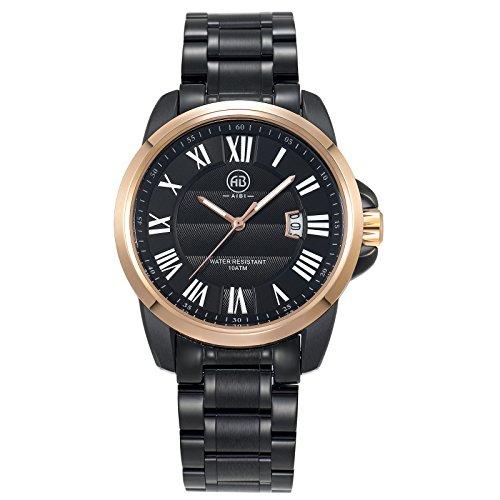 AIBI Herren Armbanduhr Analog Quarz Rosegold Edelstahl AB00602 2