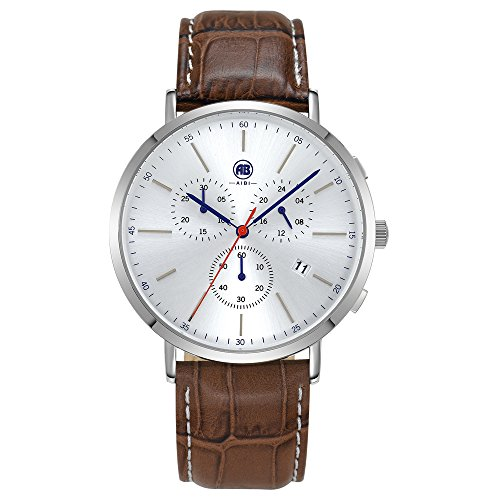 AIBI Herren Armbanduhr Sport Chronograph Leder braun AB02701 2