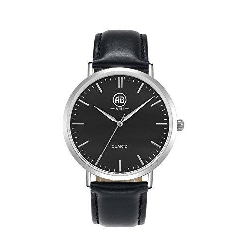 AIBI Classic Collection Herren Quarz Uhr mit schwarzem Zifferblatt Analog Anzeige und schwarzem Lederarmband AB50801 2