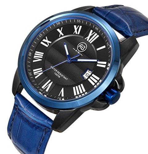AIBI Herren Wasserdicht Blau lederne Band Quarz Uhr mit Datum AB00601 99
