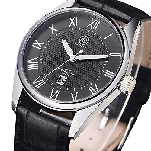 AIBI Herren Waterproof Black Leather Grosses Gesicht Schwarz Vorwahlknopf Quarz analoge Uhr mit Auto Datum