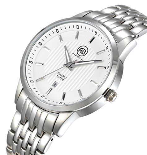 AIBI Mens Round Dial Stainless Steel Band Quartz Wrist Watch with Gift Box AB50901 1