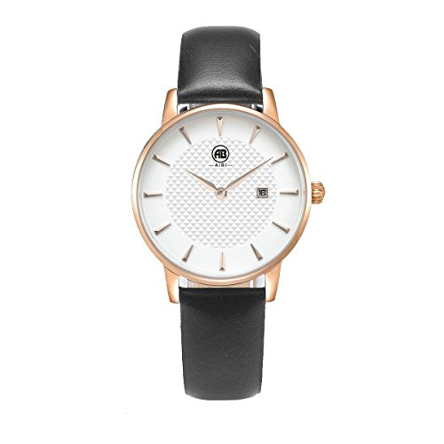 AIBI Damen Schwarz Leder Armband Edelstahl Datum Uhr Rose Gold AB52601 5