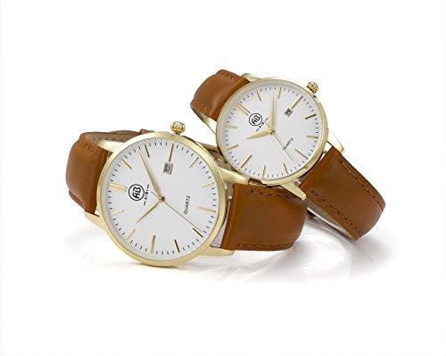 AIBI Wasserdicht Gold Paar der Analog Quarz Leder Armbanduhr AB51101 6 51002 6