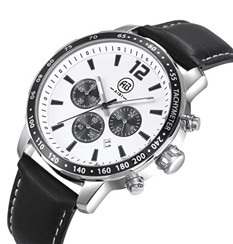 AIBI Wasserdicht XL Herren Armbanduhr Sport Chronograph Leder schwarz AB50101 2