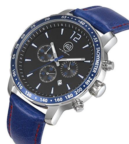 AIBI Wasserdicht XL Sport Chronograph Leder Blaue schwarz AB50101 4