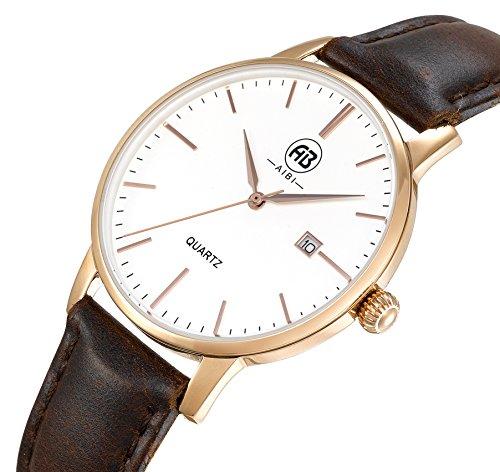 AIBI Damen Analog Quarz Wasserdicht Armbanduhr mit Rose Gold Luenette Datum Funktion AB51002 4