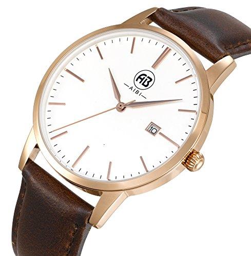 AIBI Wasserdicht Herren Classic Quarzuhr Armbanduhr elegant Uhr modisch Zeitloses Design klassisch Leder Brau Rose gold AB51101 4