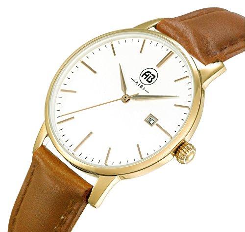 AIBI Wasserdicht elegant Uhr modisch Zeitloses Design klassisch Leder AB51101 6