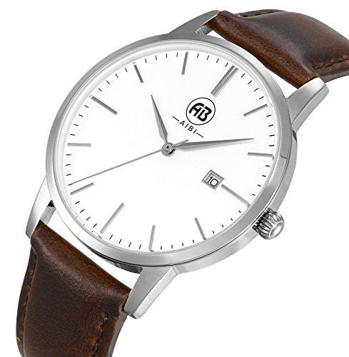 AIBI Wasserdicht Herren Armbanduhr elegant Uhr modisch Zeitloses Design klassisch Leder AB51101 3