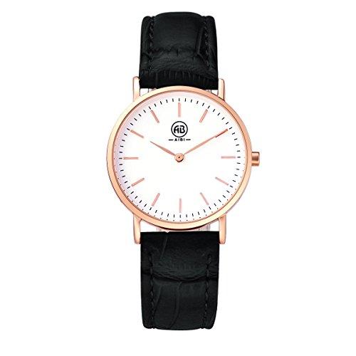 AIBI Wasserdicht Damen Quarz Armbanduhr elegant Quarzuhr Uhr modisch Zeitloses Design klassisch rose gold schwarz Leder