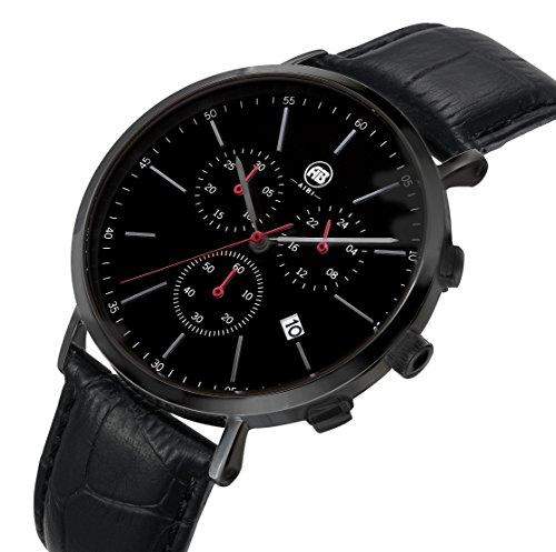 AIBI Herren Wasserdicht Chronograph Edelstahl Leder Armbanduhr mit Datum und Stoppuhr AB02701 4