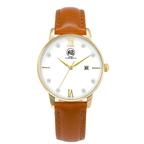 AIBI Wasserdicht Damen Armbanduhr Analog Quarz Leder Gold AB51001 6