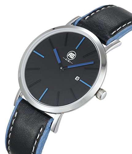 AIBI Wasserdicht Analog Quarz Leder Kalender Schwarz Blau