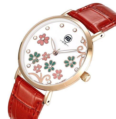 AIBI Wasserdicht Kristall Blume Mode Quarz Leder AB50601 2