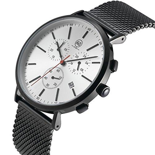 AIBI Wasserdicht Herren Edelstahl Chronograph Analog Quarz Uhr mit Datum und Stoppuhr