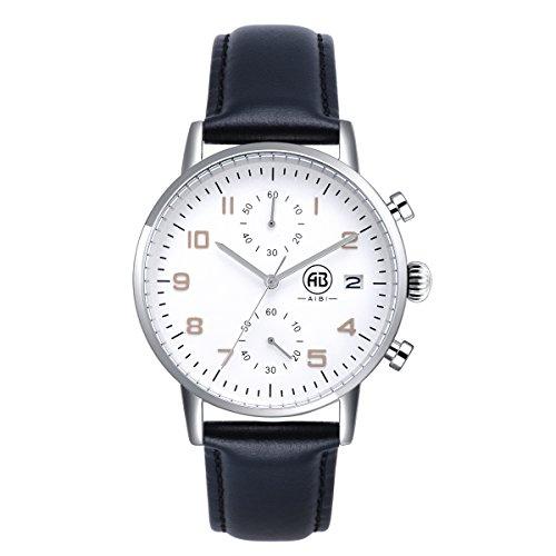 AIBI Wasserdicht Chronograph Leder Schwarz Kalender Silber