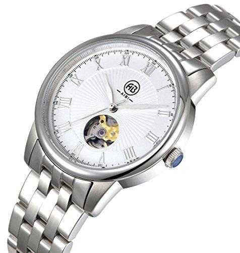 AIBI Wasserdicht Silber Mechanische Edelstahl AB50502 3