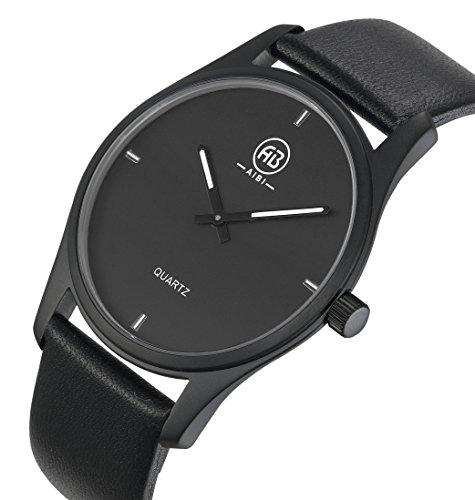 AIBI Wasserdicht Herren Quarz Schwarz Leder Uhr AB51201 1