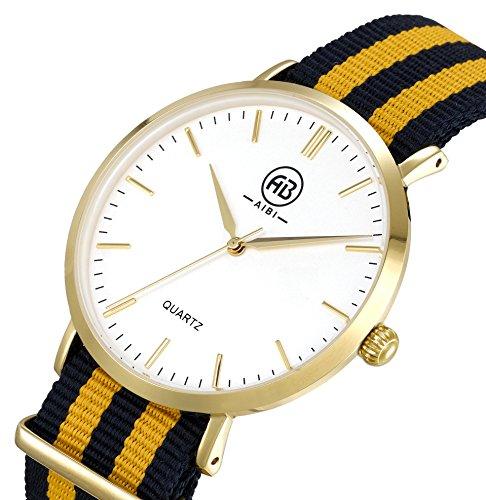 AIBI Wasserdicht Herren Quarz Uhr mit weissem Zifferblatt Analog Anzeige und Multi Color Nylonband