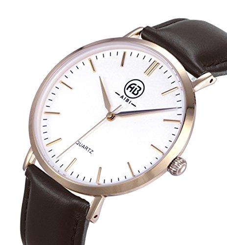 AIBI Wasserdicht Herren Classic Quarzuhr Armbanduhr Leder Brau Rose gold AB50801 4