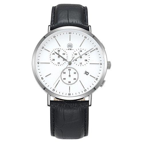 AIBI Wasserdichte Herren Armbanduhr Sport Chronograph Leder Schwarz AB02701 1
