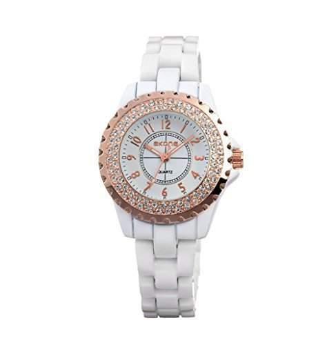 AIBI Damen-Armbanduhr Analog Quarz Plastik WeissRoségold