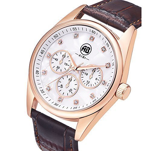 aibi Classy Analog Quarz Rosa Herren Braun Leder Uhren