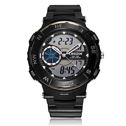 Fafada Digital Uhren Sport Uhr Armbanduhr Quarzuhr Herrenuhr Kompass Herren Uhr Schwarz