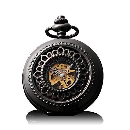 yayava Retro Handaufzug mechanische Taschenuhr Skelett Uhr graviert Metall schwarz schwarz