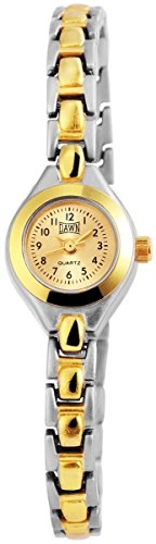 Dawn Damen Analog Armbanduhr mit Quarzwerk 100414100274 und Metallgehaeuse mit Mehrfarbigem Metallarmband und Clipverschluss Ziffernblattfarbe goldfarbig Bandgesamtlaenge 18 cm Armbandbreite 7 mm