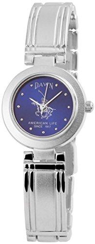 Dawn Damen mit Quarzwerk 100423000353 und Metallgehaeuse mit Metallarmband in Silberfarbig und Clipverschluss Ziffernblattfarbe blau Bandgesamtlaenge 18 cm Armbandbreite 12 mm