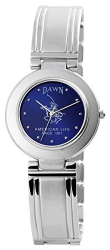 Dawn Damen mit Quarzwerk 200423000078 und Metallgehaeuse mit Metallarmband in Silberfarbig und Clipverschluss Ziffernblattfarbe blau Bandgesamtlaenge 22 cm Armbandbreite 18 mm