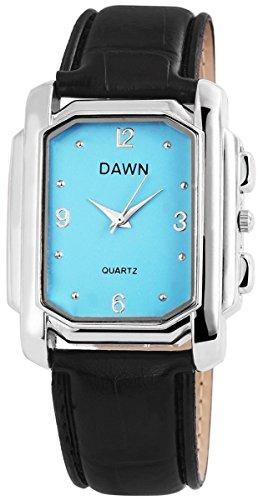 Dawn Damen mit Quarzwerk 100323000206 und Metallgehaeuse mit Kunstlederarmband in Schwarz und Dornschliesse Ziffernblattfarbe blau Bandgesamtlaenge 22 cm Armbandbreite 22 mm
