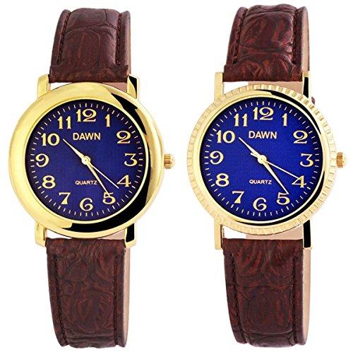 Dawn Herren Analog Armbanduhr mit Quarzwerk 200303000080 und Metallgehaeuse mit Kunstlederarmband in Braun und Dornschliesse Ziffernblattfarbe blau Bandgesamtlaenge 26 cm Armbandbreite 20 mm