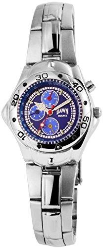 Dawn Damen mit Quarzwerk 100423000356 und Metallgehaeuse mit Metallarmband in Silberfarbig und Faltschliesse Ziffernblattfarbe blau Bandgesamtlaenge 20 cm Armbandbreite 16 mm