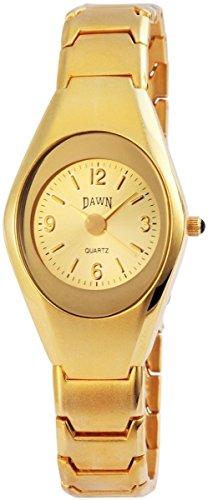 Dawn Damen Analog Armbanduhr mit Quarzwerk 100404000368 und Metallgehaeuse mit Metallarmband in Goldfarbig und Faltschliesse Ziffernblattfarbe goldfarbig Bandgesamtlaenge 21 cm Armbandbreite 16 mm