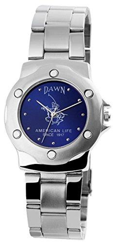 Dawn Unisex Analog Armbanduhr mit Quarzwerk 200423000080 und Metallgehaeuse mit Metallarmband in Silberfarbig und Faltschliesse Ziffernblattfarbe blau Bandgesamtlaenge 19 cm Armbandbreite 20 mm